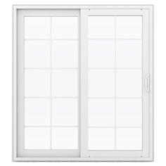 Shop JELD-WEN V-4500 71.5-in 10-Lite Glass Desert Sand Vinyl Sliding Patio Door with Screen at Lowes.com