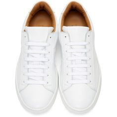 Marc Jacobs White Leather Sneakers (3365 MAD) ❤ liked on Polyvore featuring men's fashion, men's shoes, men's sneakers, shoes, mens round toe shoes, marc jacobs mens sneakers, mens leather shoes, mens leather sneakers and mens lace up shoes