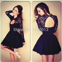 2014 Top Quality A Line Long Sleeve Black Lace Short Sexy Homecoming Dresses For Cocktail Party ✿  ☺ ✿