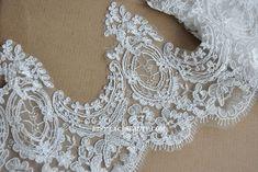 Elfenbein Alencon Lace Trim Luxus Lace Trim bestickt Retro Lace Braut Spitze Hochzeit 7,48 Inches breit 1 Yard