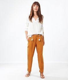Pantalon carotte fluide - CASELLA - CURRY - Etam