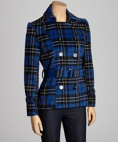 Take a look at this Trendology Blue Plaid Zipper Peacoat on zulily today!