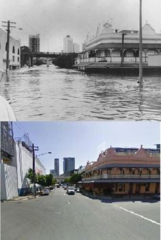 Cnr Hope St and Montague Rd, 1974 Floods and now. Aussie Australia, Brisbane City, Sunshine State, Historical Photos, Ancestry, Old Photos, Birth, Beautiful Places, The Past