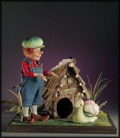 Caretaker Elf & Slugo by CREAGER DOLL ART STUDIO | Polymer Clay Planet