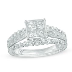 1 CT. T.W. Princess-Cut Quad Diamond Vintage-Style Engagement Ring in 10K White Gold