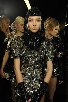 Silver embellished chain mail knight backstage at Dolce & Gabbana AW14 MFW. More images here: http://www.dazeddigital.com/fashion/article/18983/1/dolce-gabbana-aw14