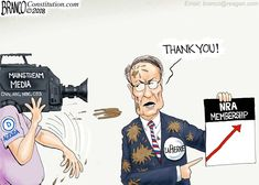 NRA memberships and donations growing in reaction to the media dumping blame and hate on the gun rights organization, although they had nothing to do with the shooting. Political Cartoon by A.F. Branco ©2018.