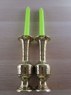 set/lot 2 Vintage engraved/etched Brass ornament vases candlesticks 18cm 7inches