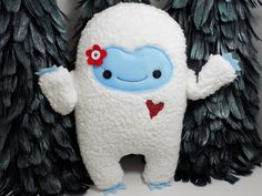 Yeti girl plush toy in red abominable snowman by warmpersonality