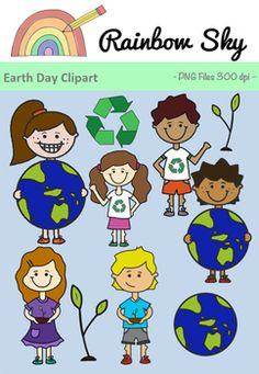 Earth Day Clipart 18 graphics - Recycle symbol - Boy with recycling shirt - Girls with recycling shirt - Earth - Boy holding Earth - Girl holding Earth - Plant sprouting - Boy holding plant - Girl holding plant All PNG files, transparent backgrounds at 300 dpi for clear, crisp graphics.