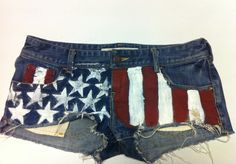 DIY America Flag Shorts @Katharine Goldschmidt I have everything except the star stamps!