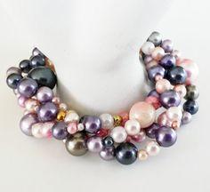 OOAK RePurposed Lavender Gray Vintage Bead Torsade by holyinspired