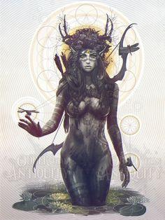 Elfe Archer forêt esprit déesse Antler Nature féminine déité géométrie sacrée Illustration Portrait Poster estampe originale - 4 tailles disponibles