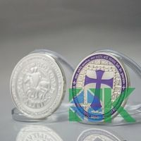 New Design 5 Pcs/Lot Knights Templar Purple Silver Plated Cross Coin Best Gift Free Shipping