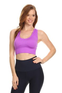 Yelete Multi Strap Sports Bra w//Front Mesh Purple, Medium