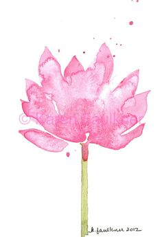Pink Lotus, Watercolors by Karen Faulkner