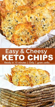 Crispy, cheesy Keto Cheese Chips are a guilt-free snack that's ready in minutes. - Crispy, cheesy Keto Cheese Chips are a guilt-free snack that's ready in minutes! Keto Friendly Desserts, Low Carb Desserts, Low Carb Recipes, Keto Cheese Chips, Cheese Crisps, Cheese Snacks, Keto Snacks, Snack Recipes, Atkins Snacks