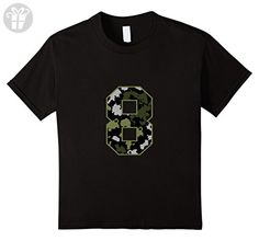 Kids 8th Birthday Gift T-Shirt Army Green Camo Colors 8 Black - Birthday shirts (*Amazon Partner-Link)