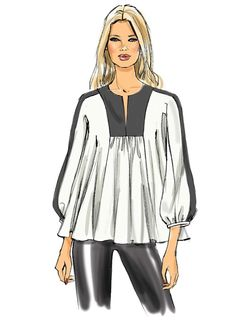 Pick Your Size - Vogue Top Pattern - Misses' Bishop-Sleeve Top and Tunics in Three Variations - Vogue Patterns Plus Size Summer Fashion, Plus Size Fashion For Women, Vogue Patterns, Dress Patterns, Plus Size Sewing Patterns, Plus Size Kleidung, Illustration Mode, Over 50 Womens Fashion, Fashion Design Sketches