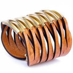 Twisted Leather Cuff Orange