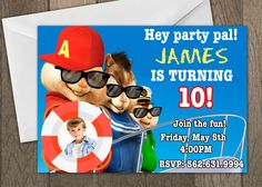 Printed Alvin and the Chipmunks Birthday Invitation - Kids Birthday Invites - Alvin, Simon, and Theodore Invitation by PixelPreppers on Etsy https://www.etsy.com/listing/259068276/printed-alvin-and-the-chipmunks-birthday