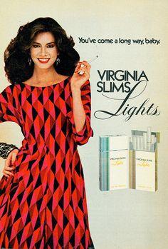 Virginia Slims Lights ads Retro Advertising, Vintage Advertisements, Vintage Ads, Smoking Ladies, Girl Smoking, Famous Ads, Vintage Cigarette Ads, Virginia Slims, Women Smoking Cigarettes