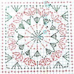 Free Mandala Crochet Patterns, Crochet Wrap Pattern, Crochet Symbols, Crochet Blocks, Granny Square Crochet Pattern, Crochet Diagram, Crochet Stitches Patterns, Crochet Squares, Crochet Granny