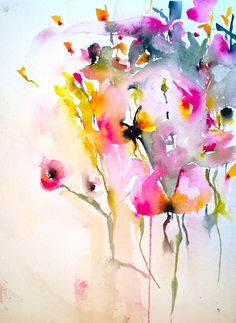 "Karin Johannesson; Watercolor 2013 Painting ""Orchids en masse"" #floral #botanical #art"