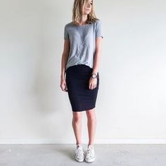 Outfit Inspiration: Work basics. Witchery grey tee, Kookai black pencil skirt and Converse white All Star sneakers. Follow @jayde_archives on Instagram.