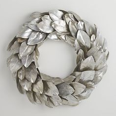 Metallics continue to have a strong presence in decorative accessories, and around the holidays their sparkle is even more desirable. Taking the traditional Magnolia Leaf Wreath and dressing it up, Crate and Barrel has silvered leaves for an unexpected moment of glamour. @stylebeat #holidaydecor #giftguide #wreath