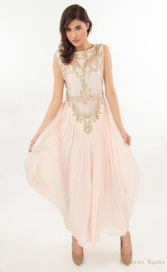 f561fa6b9a0685 Powder pink fully embroidered silk georgette gown Powder Pink