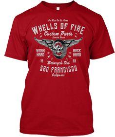 Wheels Of Fire Deep Red T-Shirt Front