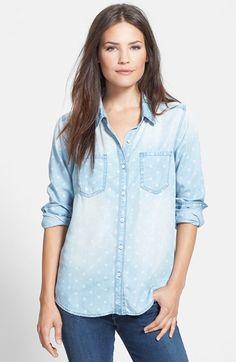 Halogen® Long Sleeve Chambray Shirt (Regular & Petite) available at #Nordstrom