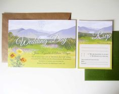ONE SAMPLE Lakes and Mountains Wedding Invitation and RSVP response card
