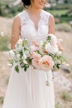 A Dreamy Peach and Blush Summer Wedding in The Okanagan Valley Young Wedding, White Apron, Bridal Gowns, Wedding Dresses, Beautiful Bouquets, Bridal Boutique, Summer Wedding, Real Weddings, Wedding Planner