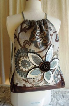 UPCYCLED DRAWSTRING BACKPACK by WhimsyEyeDesigns.etsy.com