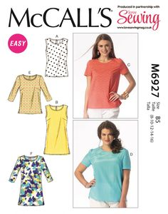 McCalls Sewing Pattern 6927 Womens Plus Size Easy Classic Tops Sleeve Options Tunic Sewing Patterns, Mccalls Patterns, Dress Patterns, Plus Size Summer Fashion, Love Sewing, Sewing Diy, Sewing Crafts, Plus Size Womens Clothing, Trendy Clothing