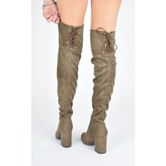 AJ | VOYAGE High Life Knee High Boots With Lace Up Detail   Mocha... ($45) ❤ liked on Polyvore featuring shoes, boots, suede knee high heel boots, suede boots, high heel boots, knee high laced boots and suede lace-up boots