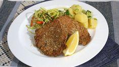 Baked pork schnitzel with Bavarian potato salad and carrot and zucchini salad Schnitzel Recipes, Pork Schnitzel, Pork Cutlets, Pork Chops, Chopped Steak, Zucchini Salad, Potato Sides, Baked Pork, Pork Recipes