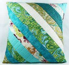 Quilted Pillow Cover, Quilted Pillow Cover, Blue and Green Pillow, Handmade Patchwork Pillow Sham, Spring Pillow by OhSherryQuilts on Etsy