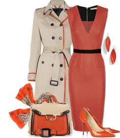 Business Style in Orange by yasminasdream ❤ liked on Polyvore More: www.coniefoxdress.com #coniefoxreviews #prom2k