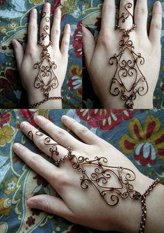Wire Wrapped Henna Slave Bracelet by RachaelsWireGarden.I remember wearing these bracelets back in the and I still love them! Hand Jewelry, Body Jewelry, Handmade Jewelry, Bullet Jewelry, Wire Wrapped Jewelry, Wire Jewelry, Jewelery, Leaf Jewelry, Glass Jewelry