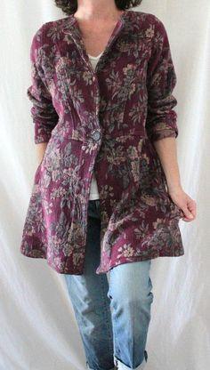 Soft Surroundings L Sleeve Long One Button Tapestry Coat Purple Sz M/S…