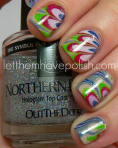 Design-Seeds Inspired Nail Art Series: Hummingbird Hues Watermarble