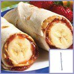 Peanut butter & jelly tortilla with bananas.