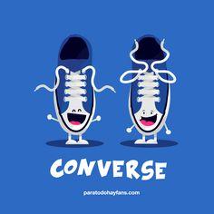 "Visual joke based on English/Spanish pronunciation of ""converse."" Chiste - converse. #learning #spanish #kids"
