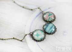 Teal Necklace  Jewelry  Art Jewelry  Green Jewelry  by CutTheFish