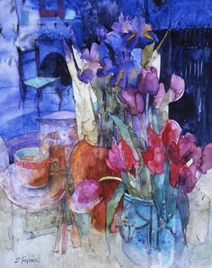 Flowers in a Blue Room-Sirley Trevenna-watercolour