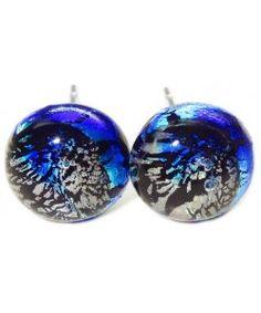 Handgemaakte zwart met blauwe craquele oorstekers | Chirurgisch staal