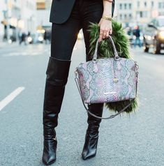 faux snakeskin purse - Sydne Style  Bright Accessories at Fashion Week